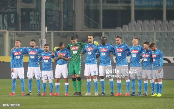 STADIUM FLORENCE TOSCANA ITALY From L Napoli's Spanish striker Jose Maria Callejon Napoli's Albanian defender Elseid HysajNapoli's Italian striker...