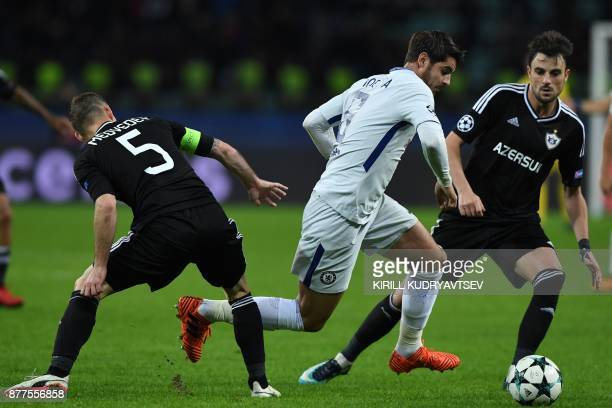 Qarabag's defender from Azerbaijan Maksim Medvedev Chelsea's forward from Spain Alvaro Morata and Qarabag's midfielder from Azerbaijan Joshgun...