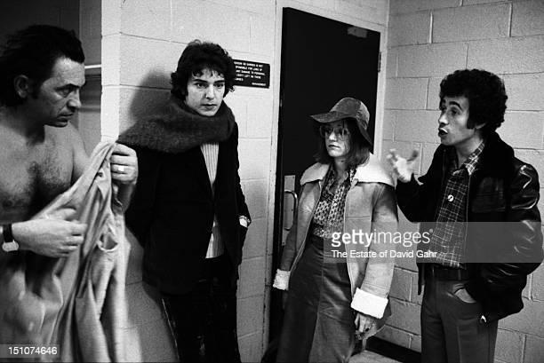 From l r rock music impresario Bill Graham night club impresario Steve Paul filmmaker Lorraine Alterman and talent mogul David Geffen convene...