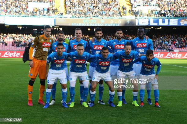 STADIUM NAPLES CAMPANIA ITALY From L rear Napoli's goalkeeper from Italy Alex Meret Napoli's defender from Albania Elseid Hysaj Napoli's striker from...