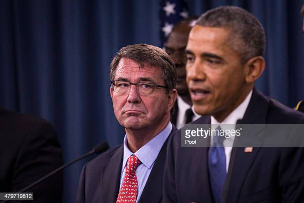 US From L Secretary of Defense Ashton Carter looks on as President Barack Obama delivers remarks after meeting with members of his national security...