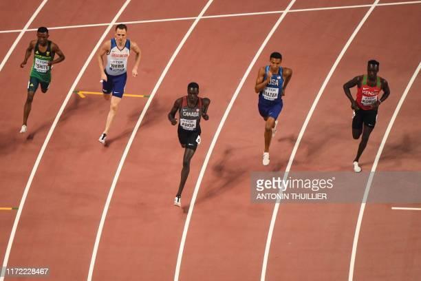 South Africa's Tshepo Tshite, Britain's Jamie Webb, Canada's Marco Arop, USA's Donavan Brazier and Kenya's Emmanuel Kipkurui Korir compete in the...