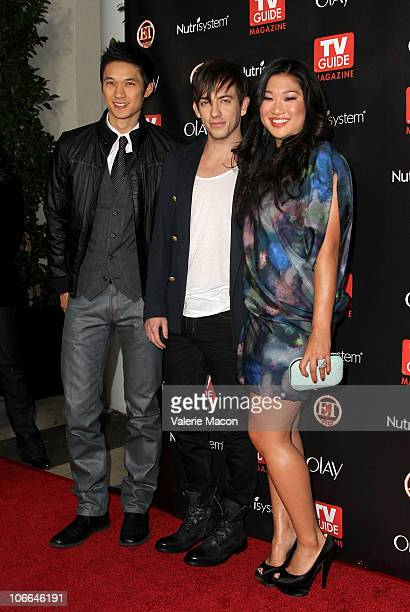 """From L to R : Actors Harry Shum Jr, Kevin McHale and Jenna Ushkowittz arrive at TV Guide Magazine's """"2010 Hot List"""" Party on November 8, 2010 in..."""