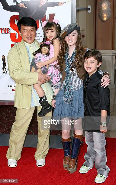 From L to R actors Jackie Chan Alina Foley Madeline Carroll and Will Shadley arrive at the the premiere 'The Spy Next Door' in Los Angeles on January...