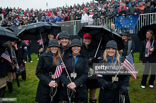 From L to R Alexandra Browne Kim Johnson Lisa Pavin Sybi Kuchar and Kandi Harris during the morning fourball matches at the 38th Ryder Cup at the...