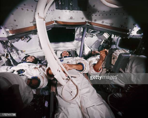 From L to R Apollo 8 astronauts spacecraft Commander Frank Borman Command Module Pilot James Lovell and Lunar Module Pilot William Anders who became...