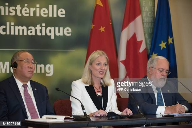 China's representative on climate change Xie Zhenhua Canadian Environment Minister Catherine McKenna and European Union Commissioner for Climate...