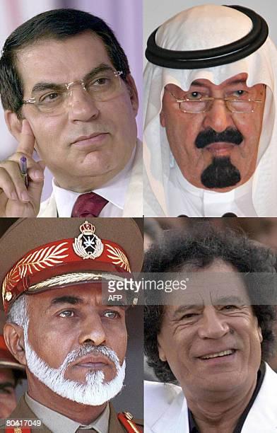 File pictures show Tunisian President Zine ElAbidine Ben Ali in Tunis 28 July 2003 Saudi Arabia's King Abdullah at a business luncheon in Kuala...