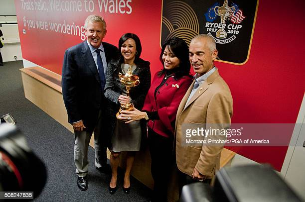 From L to R Colin Montgomerie Gaynor Montgomerie Lisa Pavin and Corey Pavin after a press conference at the 38th Ryder Cup at the Cardiff Airport in...