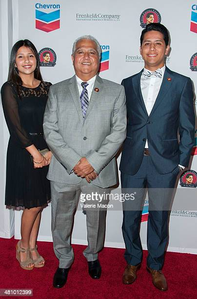 From L to R: Daniella Chavez, Paul Chavez and Andres Chavez arrive at The The Cesar Chavez Foundation's 2014 Legacy Awards Dinner at Millennium...
