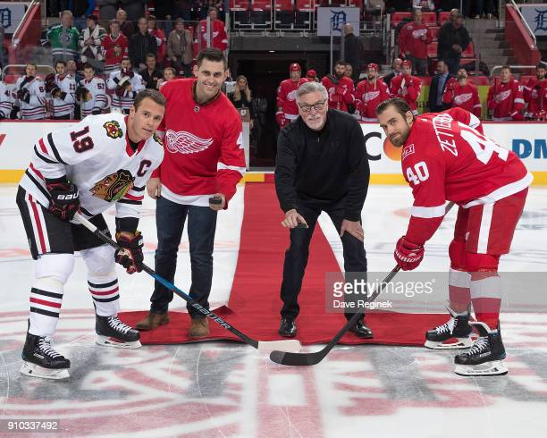 From L to R Detroit Tigers pitcher Matthew Boyd and class of 2018 baseball hall of famer former Detroit Tiger Jack Morris drops the puck between...
