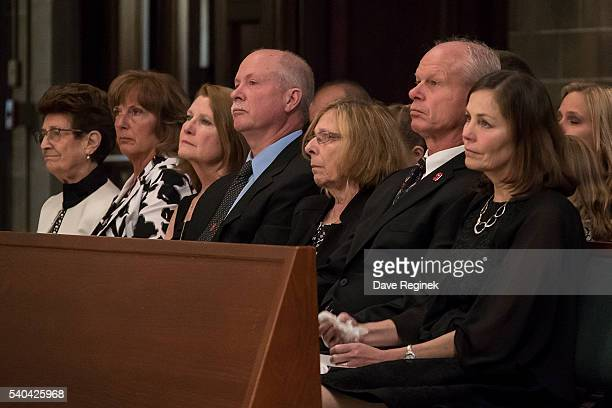 From L to R Edna Gadsby Cathy Howe Mary and Marty Howe Sharon Battaglino Mark Howe and Colleen Howe watch the services during the Gordie Howe funeral...