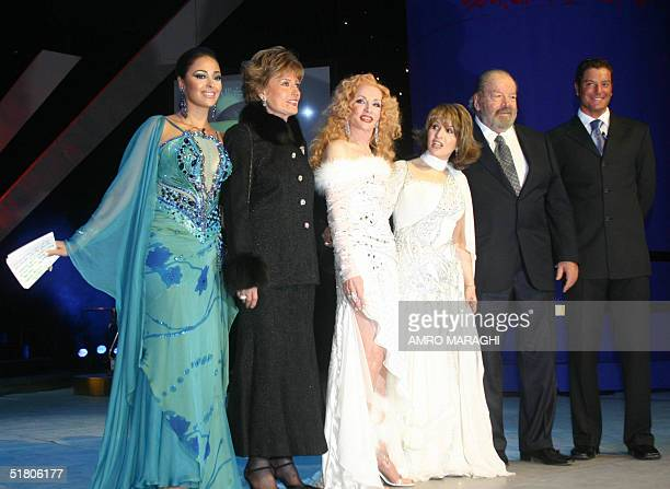From L to R Egypyian actress Daliah alBiheri veteran film star Leila Fawzi Lebanese legendary singer Sabah Egyptian actress Poussy US actor Bud...