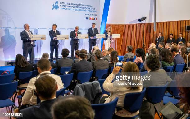 From L to R: European Commissioner for Energy and Climate Action Miguel Arias Canete, the President of France Emmanuel Macron, the Prime Minister of...