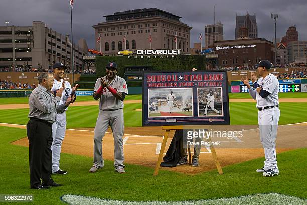 From L to R Executive Vice President of Baseball Operations & General Manager Al Avila, Miguel Cabrera of the Detroit Tigers, David Ortiz of the...