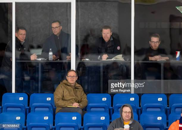 From L to R General Manager's Ken Holland from the Detroit Red Wings Steve Yzerman from the Tampa Bay Lightning Kris Draper and Dan Cleary from the...
