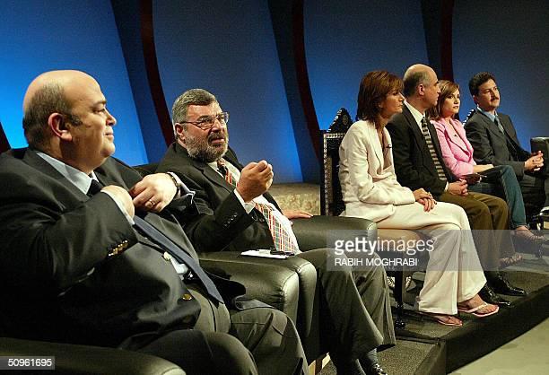 From L to R Imad Adeeb Egyptian Orbit network talk show host Wamidh Nadimi a representative of Iraqi opposition Reuters journalist Samia Nakhoul...