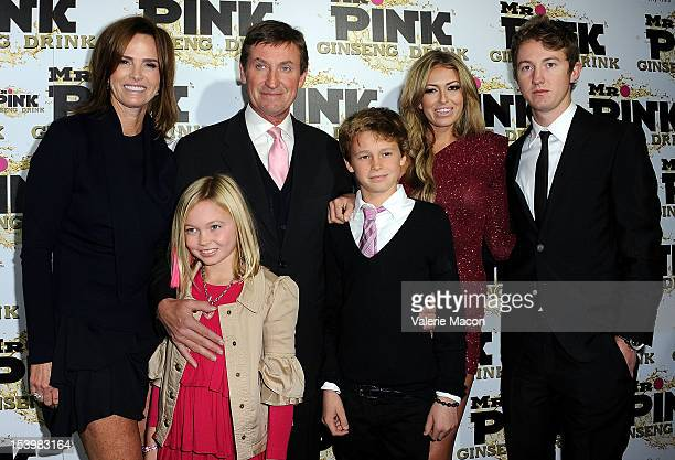 From L to R Janet Jones Emma Gretzky Wayne Gretzky Tristan Gretzky Paulina Gretzky and Ty Gretzky arrives at Mr Pink Ginseng Drink Launch Party on...