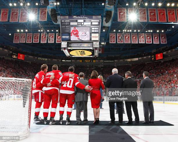 From L to R Justin Abdelkader Niklas Kronwall Henrik Zetterberg of the Detroit Red Wings former Detroit Red Wing Ted Lindsay wife Emma Andersson...