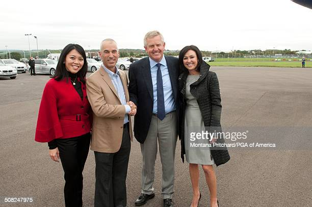 From L to R Lisa Pavin Corey Pavin Colin Montgomerie and Gaynor Montgomerie at the 38th Ryder Cup at the Cardiff Airport in Cardiff Wales on Monday...