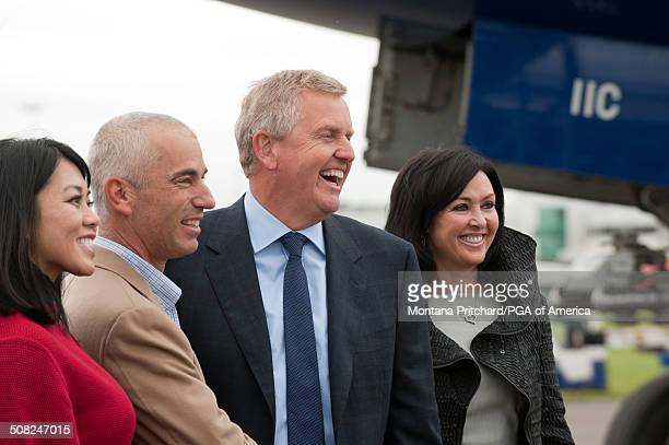 From L to R Lisa Pavin USA Ryder Cup Captain Corey Pavin Europe Ryder Cup Captain Colin Montgomerie and Gaynor Montgomerie at the 38th Ryder Cup at...