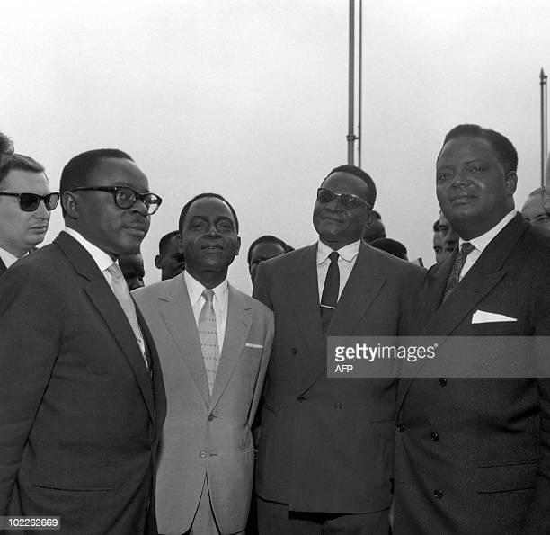Maurice Yameogo Felix Houphouet Boigny Hamani Diori and Hubert Maga the four leaders of the 'Agreement Council' pose on June 5 during a cocktail at...