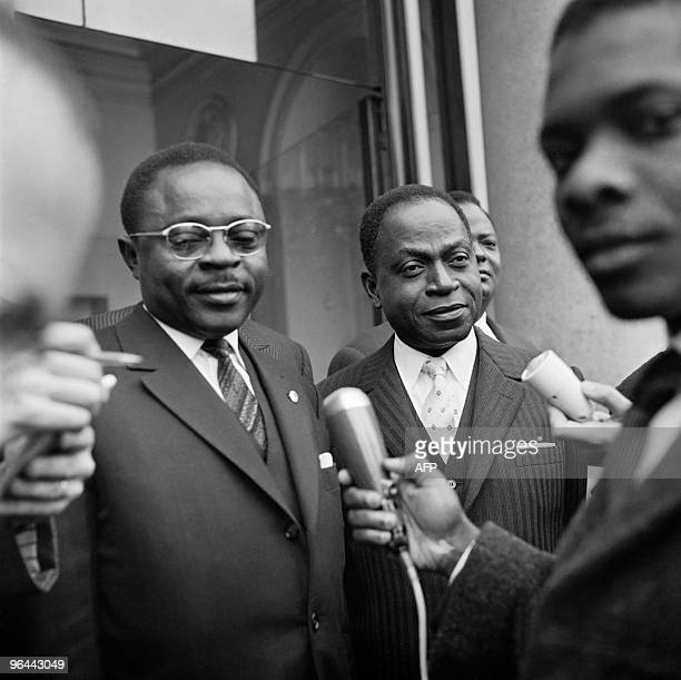 Maurice Yameogo Felix Houphouet Boigny Hubert Maga and Hamani Diori the four leaders of the 'Agreement Council' pose on April 18 after a meeting...