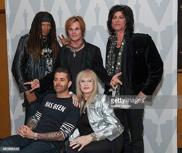 From L to R Metal DJ Will Riki Rachtman Rikki Rocket Penelope Spheeris and Nadir D'Priest attend The Academy Of Motion Picture Arts And Sciences'...