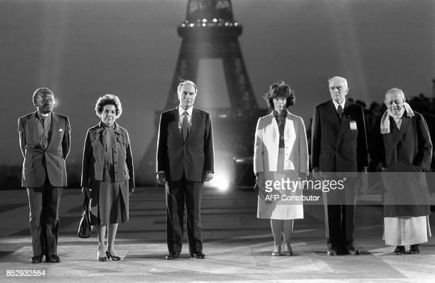 Mgr Desmond Tutu 1984 Nobel Peace Prize Mrs Hortensia Bussi de Allende widow of former Chilean President Salvador Allende French President François...