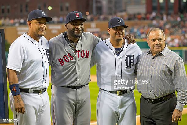 From L to R Miguel Cabrera of the Detroit Tigers, David Ortiz of the Boston Red Sox, Victor Martinez and Executive Vice President of Baseball...