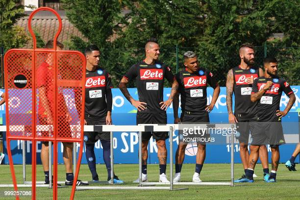 From L to R Napoli's Spanish striker Jose Maria CallejonNapoli's Slovakian midfielder Marek Hamsik Napoli's Brazilian midfielder Allan Napoli's...