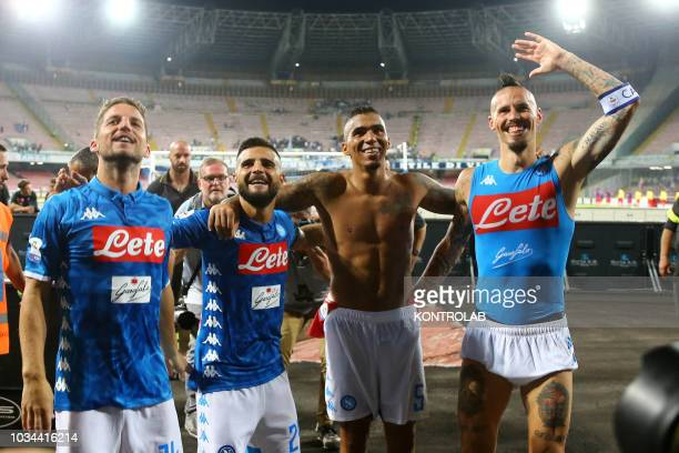 From L to R: Napoli's striker from Belgium Dries Mertens,Napoli's striker from Italy Lorenzo Insigne,Napoli's midfielder from Brazil Allan and...