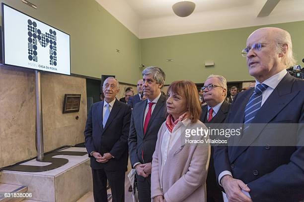 From L to R: Portuguese President Marcelo Rebelo de Sousa, Minister of Finance Mario Centeno, Minister of the Presidency and of Administrative...