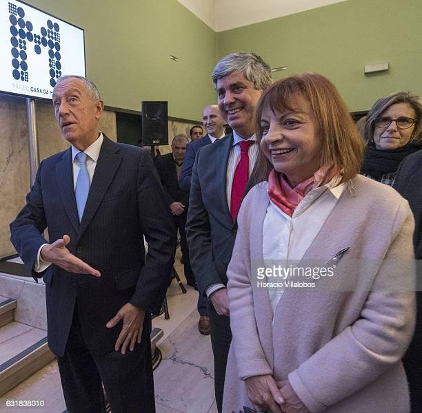 From L to R: Portuguese President Marcelo Rebelo de Sousa, Minister of Finance Mario Centeno and Minister of the Presidency and of Administrative...