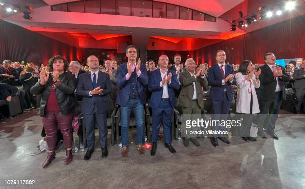 From L to R Prime Minister of Malta Joseph Muscat Prime Minister of Spain Pedro Sanchez President of PES Sergei Stanishev and Portuguese Prime...
