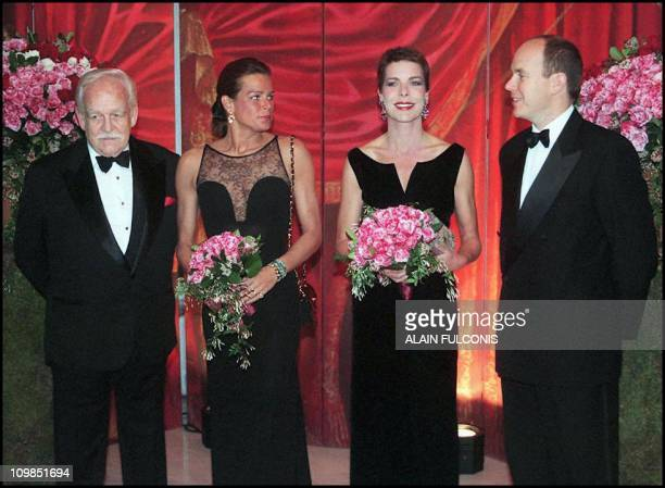 From L to R prince Rainier III of Monaco princess Stephanie princess Caroline and prince Albert pose for photographer 15 March prior the opening of...