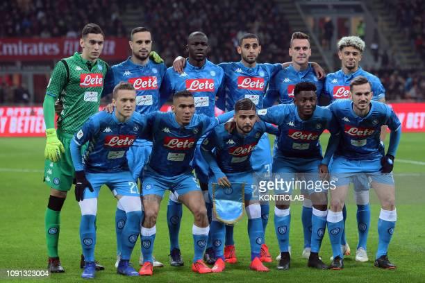 STADIUM MILAN LOMBARDIA ITALY From L to R second line Napoli's Italian goalkeeper Alex MeretNapoli's Serbian defender Nikola MaksimovicNapoli's...