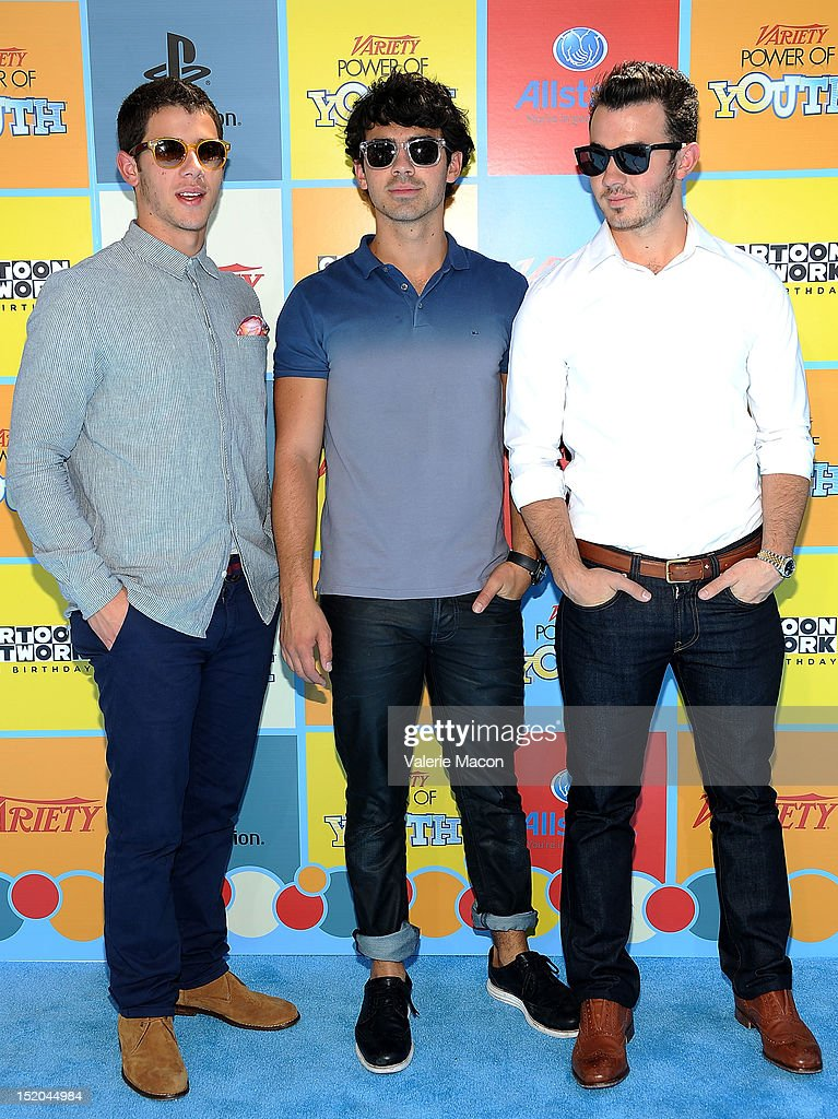 Singers and musicians Nick Jonas, Joe Jonas and Kevin Jonas from Jonas Brothers arrives at Variety's 6th Annual Power Of Youth Event at Paramount Studios on September 15, 2012 in Hollywood, California.