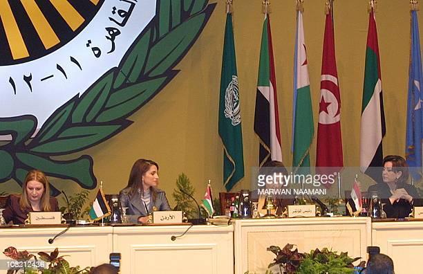 From L to R, Suha Arafat, wife of Palestinian leader Yasser Arafat, Queen Rania of Jordan, Suzanne Mubarak, wife of Egyptian President Hosni Mubarak,...