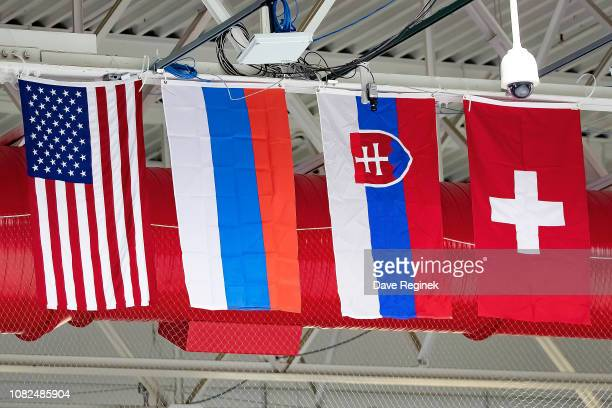 From L to R the flags of the National teams of USA, Russia, Slovakia and Switzerland during day one of game one of the 2018 Under-17 Four Nations...