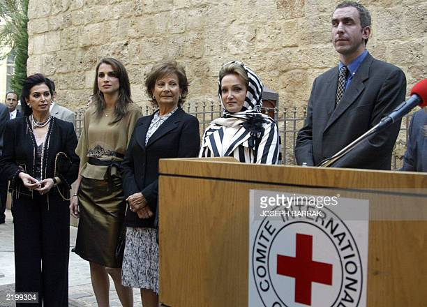 the wife of Lebanese Prime Minister Naziq Rafiq Hariri Jordan's Queen Rania Lebanese First Lady Andre Emile Lahoud and Parliament speaker Randa Nabih...
