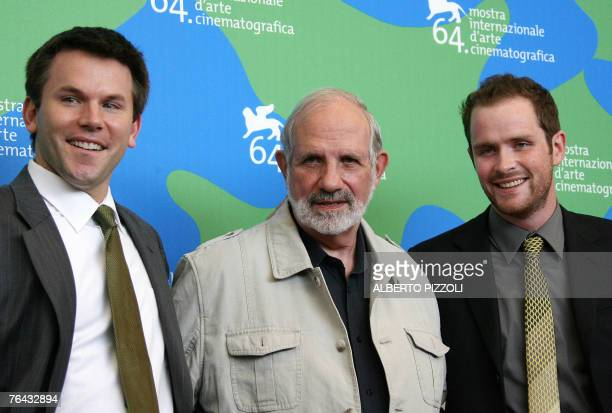 US actor Robert Devaney US director Brian De Palma and US actor Patrick Carroll as they poses during a photocall for the movie Redacted during the...