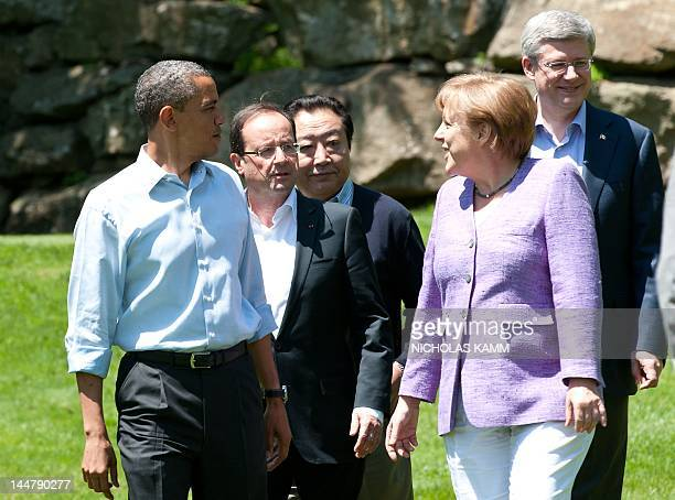 From L to R, US President Barack Obama, French President Francois Hollande , Japanese Prime Minister Yoshihiko Noda, German Chancellor Angela...
