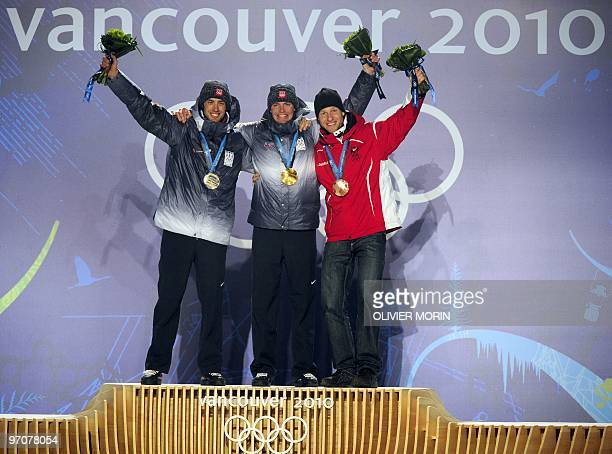 US Silver medallist Johnny Spillane US Gold medallist Bill Demong and Austrian Bronze medallist Bernhard Gruber are seen during the medal ceremony...