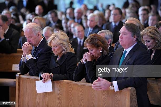 From L to R US Vice President Joe Biden his wife Jill Biden his sister Valerie Biden Owens and her husband Jack Owens attend the funeral of the vice...