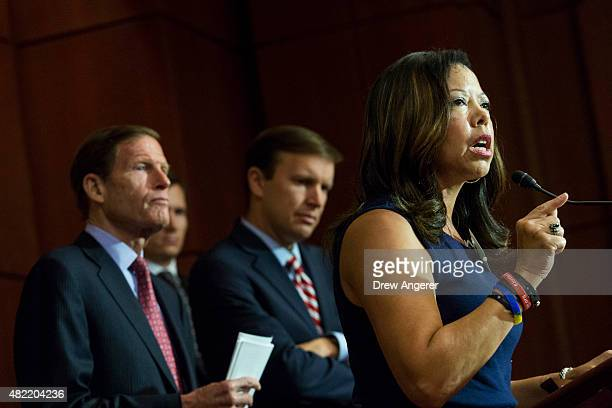 From L to R with Sen Richard Blumenthal and Sen Chris Murphy looking on Lucy McBath mother of Jordan Davis who was fatally shot while unarmed at a...