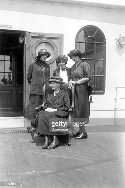 From lefft to right Eve Curie Mme Marie Curie Mrs marie Mattingly Meloney and Irene Curie pictured together during the Curies' 1921 visit to the...
