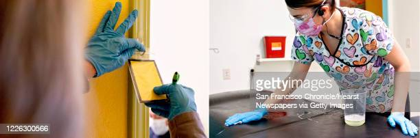From Left: 1. Carla Ramirez flips a notecard on an exam room from white to yellow, indicating a patient is showing possible coronavirus symptoms,...