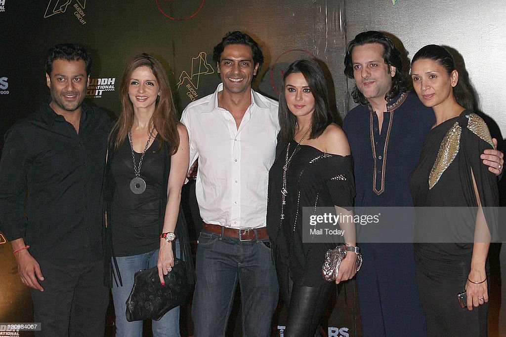 From left Abhishek Kapoor Suzanne Roshan Arjun Rampal Preity Zinta Fardeen Khan and Mehr Rampal at the second day of F1 afterparty at LAP Buddh...