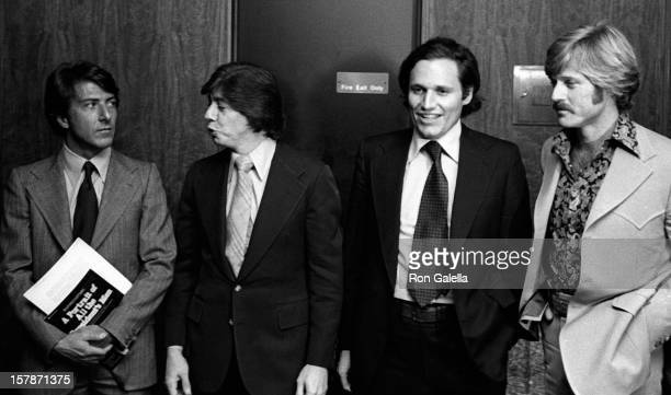 From left, actor Dustin Hoffman, journalists Carl Bernstein and Bob Woodward, and actor Robert Redford attend the premiere of the film 'All The...